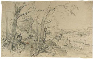 Andreas Schelfhout - A Wooded River Landscape With Travellers Near A Ruin