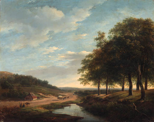 Order Reproductions | An Extensive Summer Landscape With Travellers And A Hay-wagon On A Sandy Track by Andreas Schelfhout (1787-1870, Netherlands) | WahooArt.com