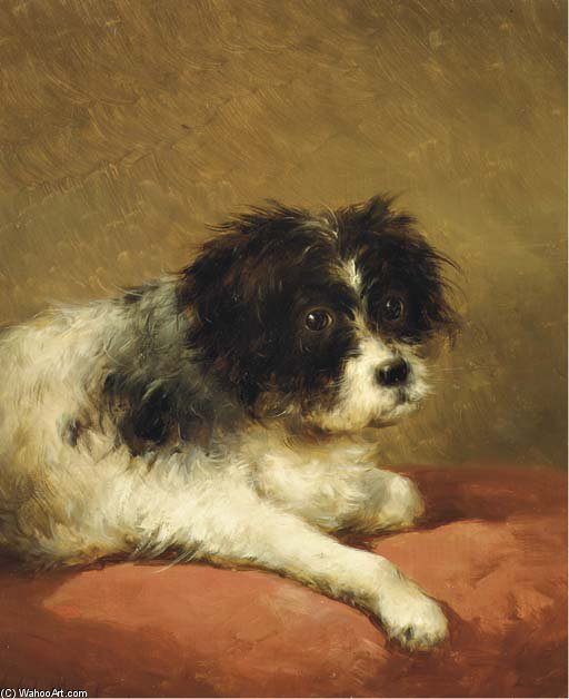 Best Friend - Portrait Of A Dog by Andreas Schelfhout (1787-1870, Netherlands) | Paintings Reproductions Andreas Schelfhout | WahooArt.com