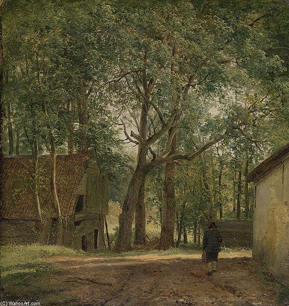 Boerenerf by Andreas Schelfhout (1787-1870, Netherlands)