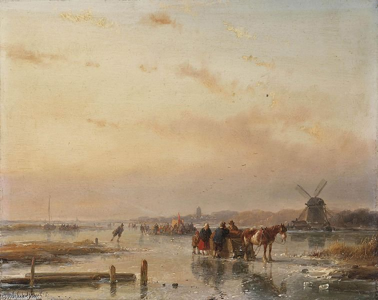 Collected On The Ice At The End Of A Winter Day by Andreas Schelfhout (1787-1870, Netherlands) | WahooArt.com
