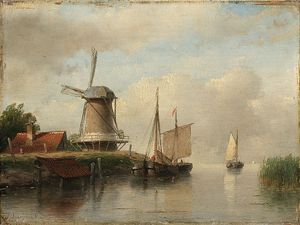Andreas Schelfhout - Dutch Boats Moored On A River Next To A Windmill
