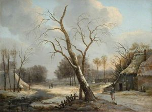 Andreas Schelfhout - Dutch Winter Scene