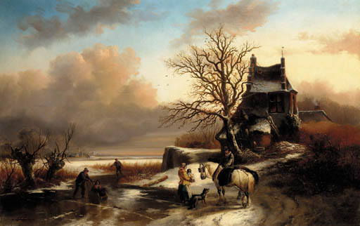 Figures By A Cottage In A Dutch Winter Landscape by Andreas Schelfhout (1787-1870, Netherlands)
