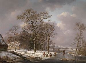 Andreas Schelfhout - Figures In A Winter Landscape