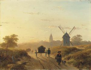 Andreas Schelfhout - Figures On A Dusty Track In Late Afternoon