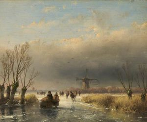 Andreas Schelfhout - Figures On A Frozen River
