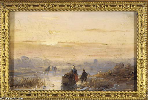 Figures On The Ice At Dusk by Andreas Schelfhout (1787-1870, Netherlands) | WahooArt.com