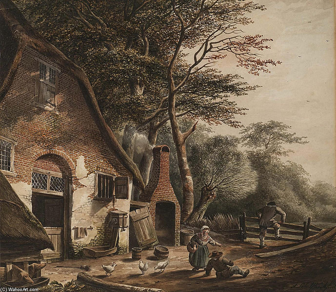 Figures Outside A Farmhouse by Andreas Schelfhout (1787-1870, Netherlands) | Museum Quality Reproductions | WahooArt.com