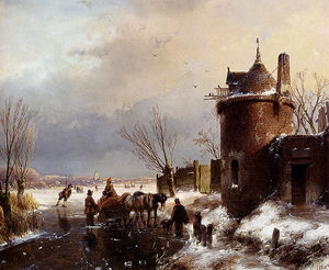 Andreas Schelfhout - Figures With A Horse Sledge On The Ice A Town In The Distance