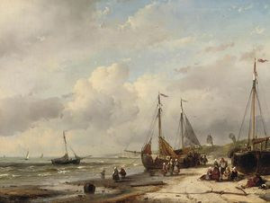 Andreas Schelfhout - Fishermen And Fishing Boats Along The Dutch Coast