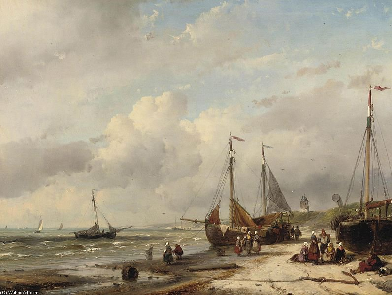 Fishermen And Fishing Boats Along The Dutch Coast by Andreas Schelfhout (1787-1870, Netherlands) | Oil Painting | WahooArt.com