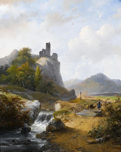 Andreas Schelfhout - German Landscape With Ruin