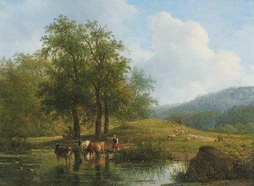 Order Oil Painting : Herding The Cattle In Summer by Andreas Schelfhout (1787-1870, Netherlands) | WahooArt.com
