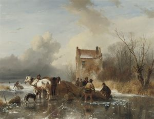 Andreas Schelfhout - Ice Fishing - Hauling In The Nets On A Winter's Day