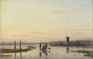 Andreas Schelfhout - Ice Scene With Mill