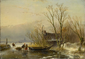 Andreas Schelfhout - Ice Scene With Wood Gatherers