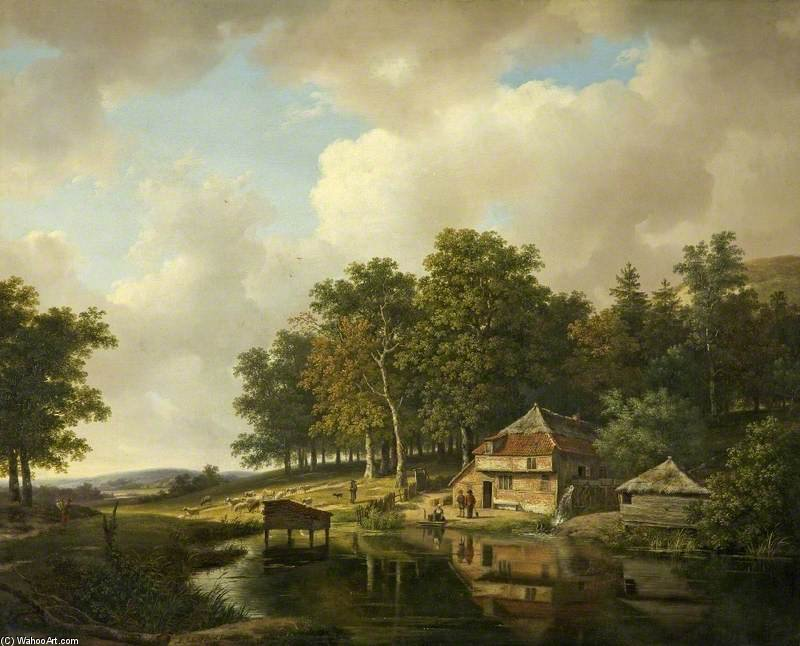 Landscape With A Mill And A Water Wheel by Andreas Schelfhout (1787-1870, Netherlands) | Reproductions Andreas Schelfhout | WahooArt.com