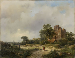 Andreas Schelfhout - Landscape With The Ruins Of Brederode Castle To Santpoort