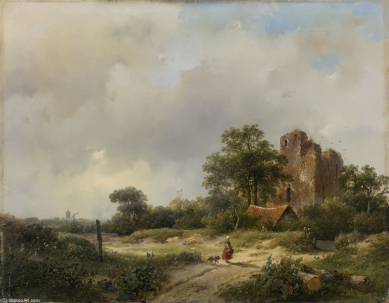 Landscape With The Ruins Of Brederode Castle To Santpoort by Andreas Schelfhout (1787-1870, Netherlands)