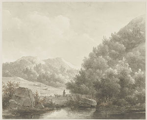 Andreas Schelfhout - Mountain Landscape With Stream, Shepherd And Sheep