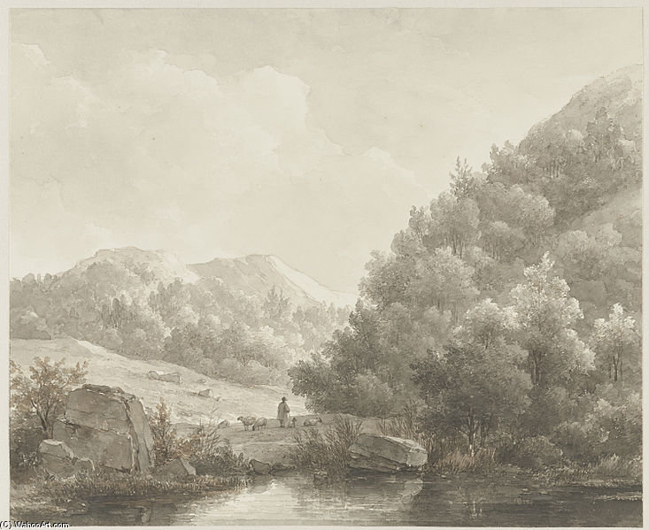 Mountain Landscape With Stream, Shepherd And Sheep by Andreas Schelfhout (1787-1870, Netherlands) | Museum Quality Reproductions | WahooArt.com