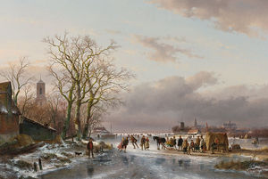 Andreas Schelfhout - Numerous Skaters And A Horse-sledge By A Refreshment Stall