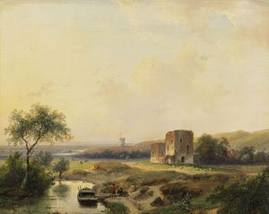 Andreas Schelfhout - River Landscape With Windmill In Haarlem And The Ruins Of Brederode