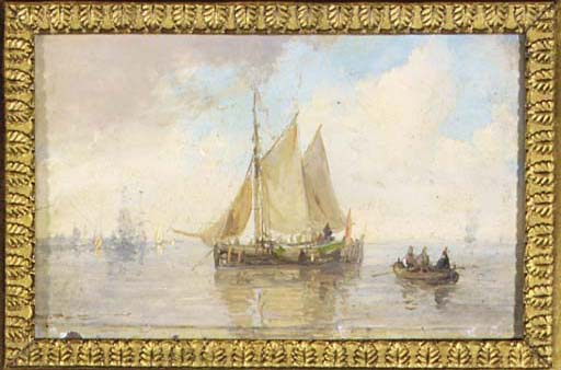 Sailing-vessels On An Estuary by Andreas Schelfhout (1787-1870, Netherlands)