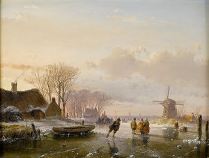 Andreas Schelfhout - Skaters And Figures On A Frozen River, Haarlem In The Distance