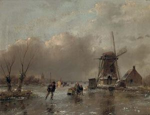 Andreas Schelfhout - Skaters By A Mill With A Koek En Zopie Beyond