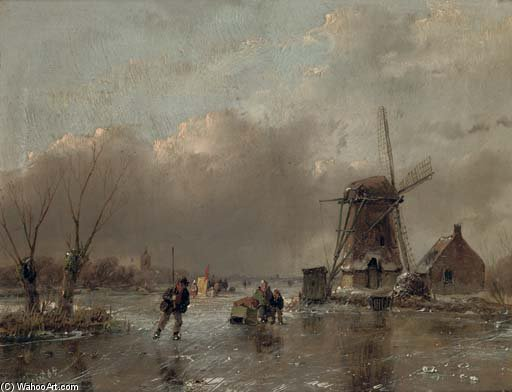 Skaters By A Mill With A Koek En Zopie Beyond by Andreas Schelfhout (1787-1870, Netherlands) | WahooArt.com
