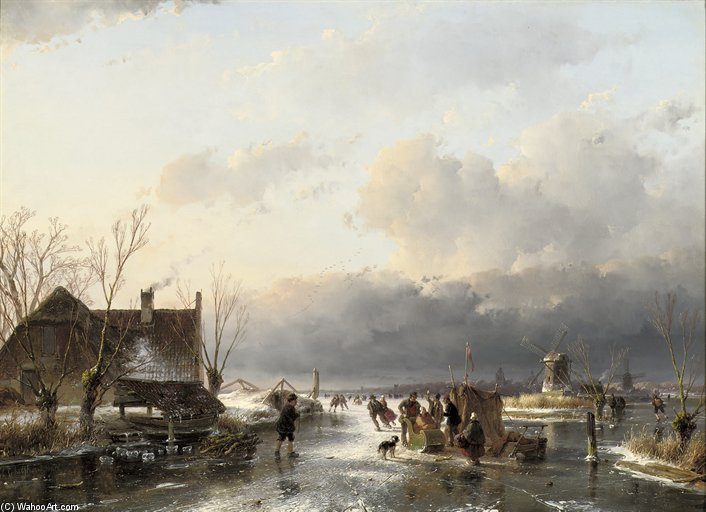 Skaters Near A Koek-en-zopie With Windmills Beyond by Andreas Schelfhout (1787-1870, Netherlands)