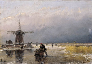 Andreas Schelfhout - Skaters On A Frozen Waterway By A Windmill