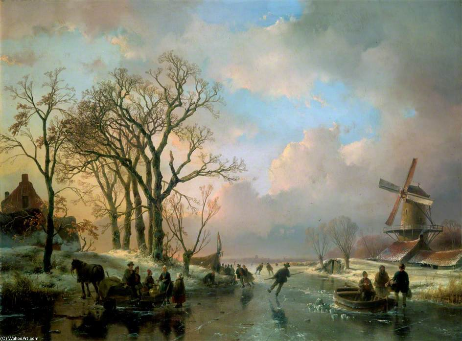 Skating In Holland by Andreas Schelfhout (1787-1870, Netherlands)