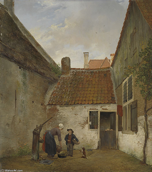 Small Courtyard by Andreas Schelfhout (1787-1870, Netherlands) | WahooArt.com