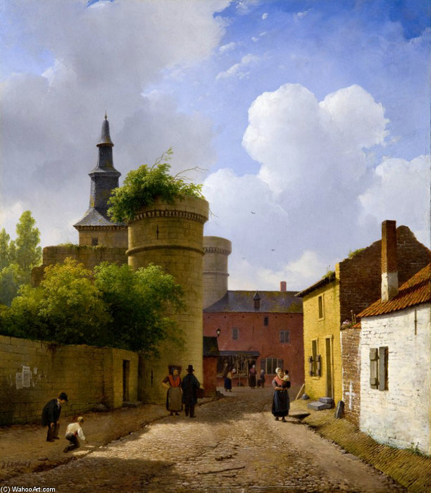 Small Street In Huy, Belgium by Andreas Schelfhout (1787-1870, Netherlands)