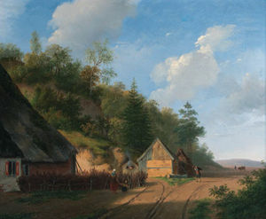 Andreas Schelfhout - The Forester-s House; At The Watermill