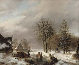 Andreas Schelfhout - Villagers On The Ice By Farmhouses, A Diligence Approaching