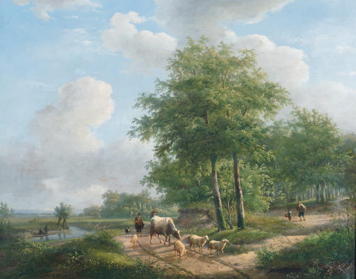 Buy Museum Art Reproductions | Walking Along A Sunlit Path In The Countryside by Andreas Schelfhout (1787-1870, Netherlands) | WahooArt.com
