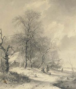 Andreas Schelfhout - Winter - Sportsmen On The Edge Of A Forest