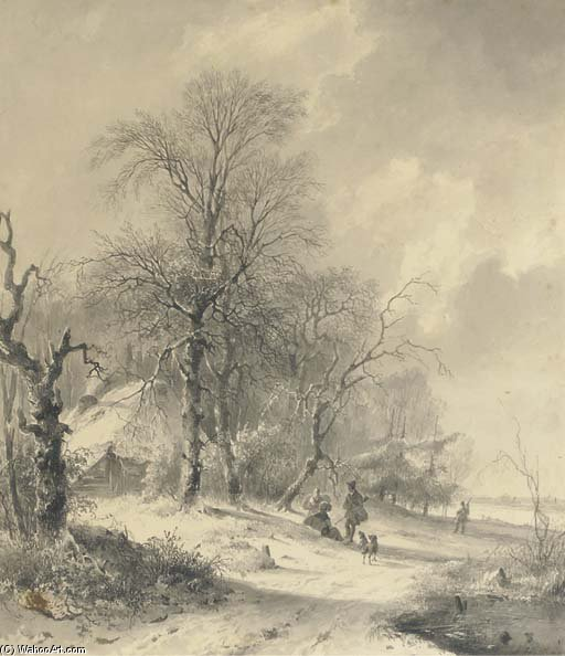 Winter - Sportsmen On The Edge Of A Forest by Andreas Schelfhout (1787-1870, Netherlands) | WahooArt.com