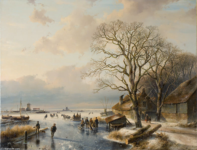 Winter Landscape - by Andreas Schelfhout (1787-1870, Netherlands) | Art Reproductions Andreas Schelfhout | WahooArt.com
