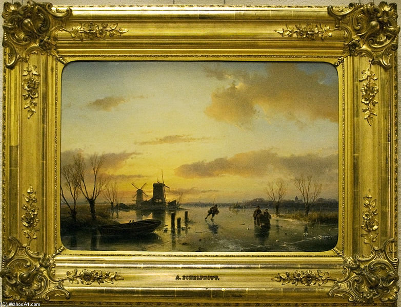 Winter Landscape - by Andreas Schelfhout (1787-1870, Netherlands) | Reproductions Andreas Schelfhout | WahooArt.com