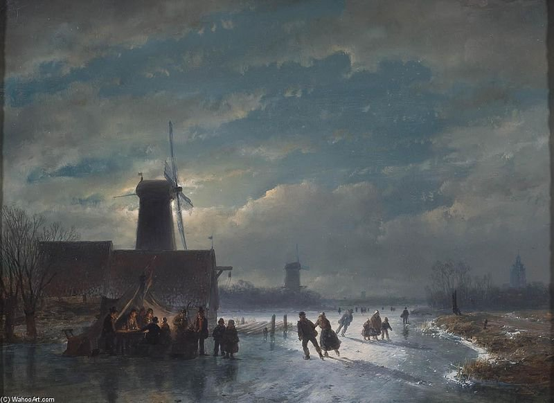Winter Landscape With `koek En Zopie` At Night by Andreas Schelfhout (1787-1870, Netherlands) | Museum Quality Copies Andreas Schelfhout | WahooArt.com