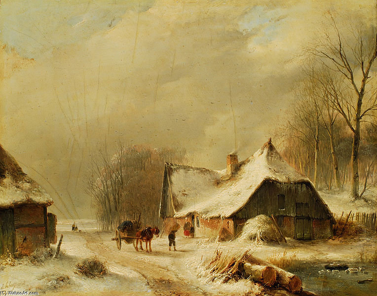 Winter Landscape With Horse And Carriage In Front Of A Snowy Farm by Andreas Schelfhout (1787-1870, Netherlands) | Art Reproduction | WahooArt.com