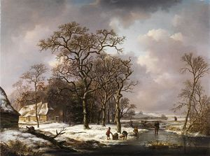 Andreas Schelfhout - Winter Landscape With Knotty Oak