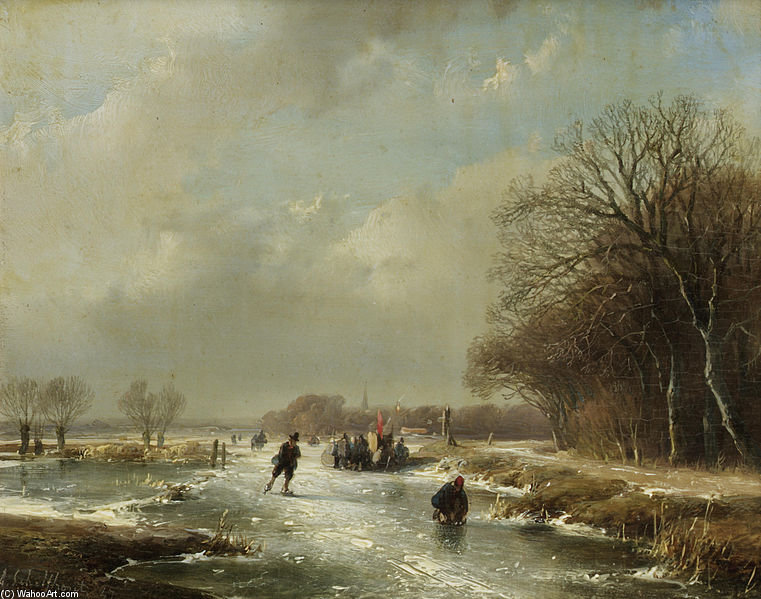 Winter Landscape With Skaters by Andreas Schelfhout (1787-1870, Netherlands) | Art Reproductions Andreas Schelfhout | WahooArt.com