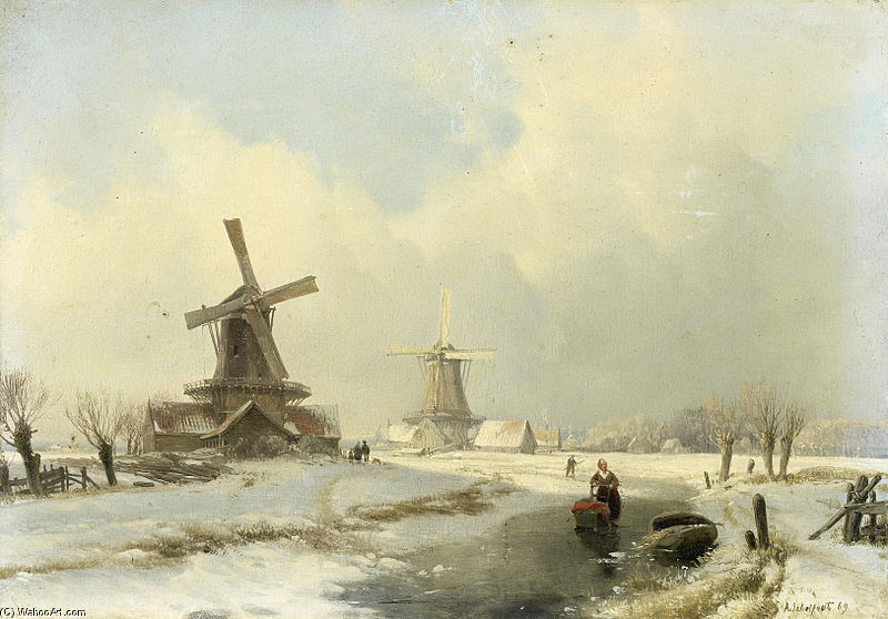 Winter Landscape With Two Windmills by Andreas Schelfhout (1787-1870, Netherlands) | WahooArt.com