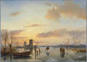 Order Reproductions | Winter Landscape by Andreas Schelfhout (1787-1870, Netherlands) | WahooArt.com
